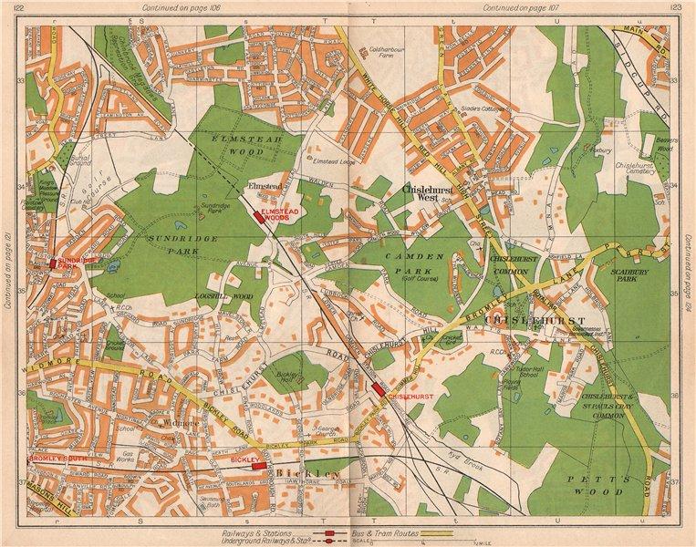 Associate Product SE LONDON. Chislehurst Widmore Bickley Petts Wood Elmstead Pett's Wood 1938 map