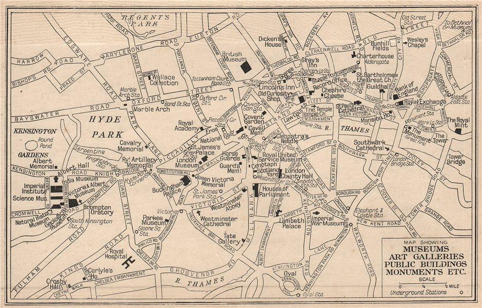 LONDON Museums Art Galleries Public Buildings Monuments 1938 old vintage map