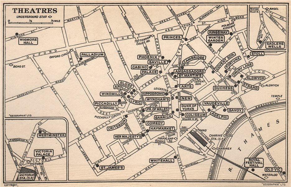 Associate Product LONDON WEST END THEATRES. Covent Garden St James's Shaftesbury Avenue 1953 map