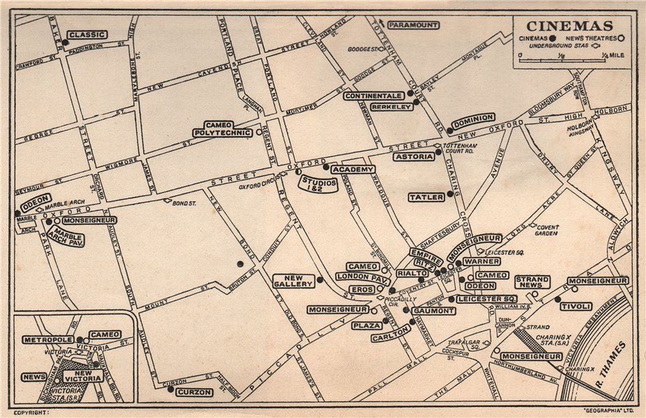 Associate Product LONDON WEST END CINEMAS & NEWS THEATRES. Leicester Square &c 1953 old map