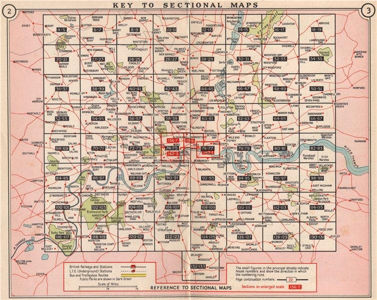 Associate Product LONDON. Index map. Railways underground tube bus trolleybus map 1953 old