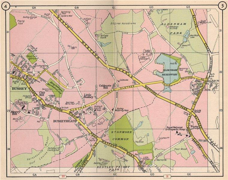 Associate Product NW LONDON. Bushey Heath Elstree Stanmore Aldenham Park Caldecote Hill 1953 map