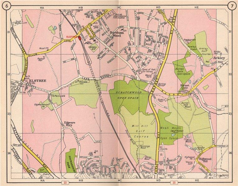Associate Product NW LONDON. Elstree Borehamwood Edgwarebury Barnet Gate Highwood Hill 1953 map