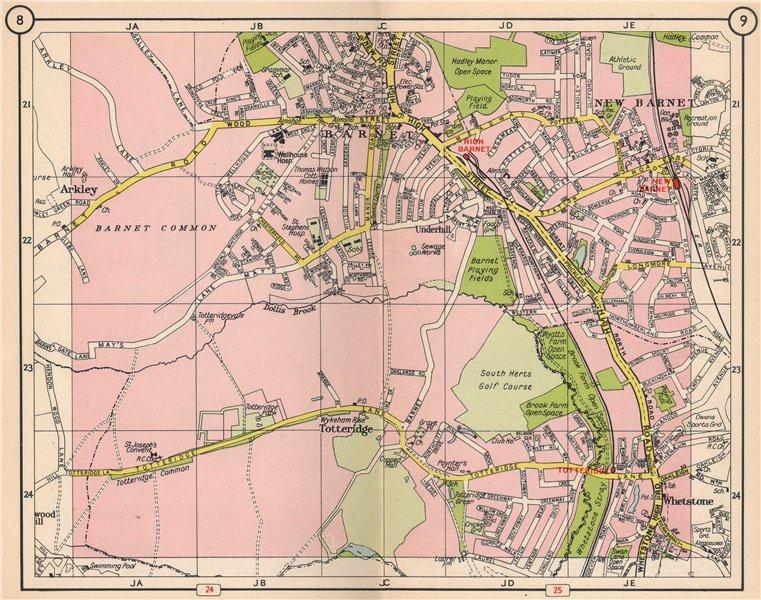 Associate Product N LONDON. New Barnet High Barnet Arkley Totteridge Whetstone 1953 old map