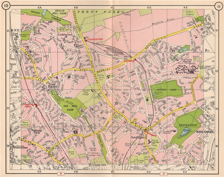Associate Product N LONDON. Southgate Cockfosters Oakleigh Park East Barnet Winchmore 1953 map
