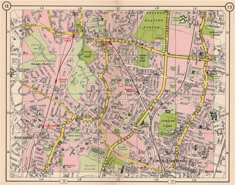 Associate Product N LONDON. Enfield Ponder's End Edmonton Winchmore Hill Bush Hill Park 1953 map