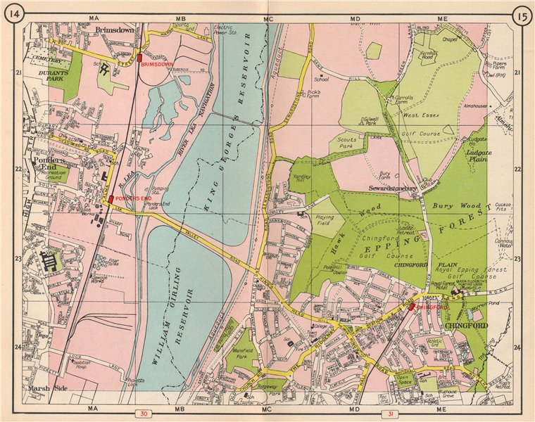 Associate Product NE LONDON. Brimsdown Chingford Sewardstonebury Epping Forest 1953 old map