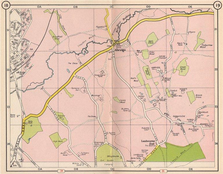 Associate Product NE LONDON. Abridge Lambourne End Loughton River Roding Debden 1953 old map