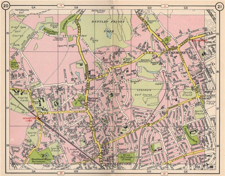 Associate Product NW LONDON. Wealdstone Harrow Weald Stanmore Headstone Lane 1953 old map