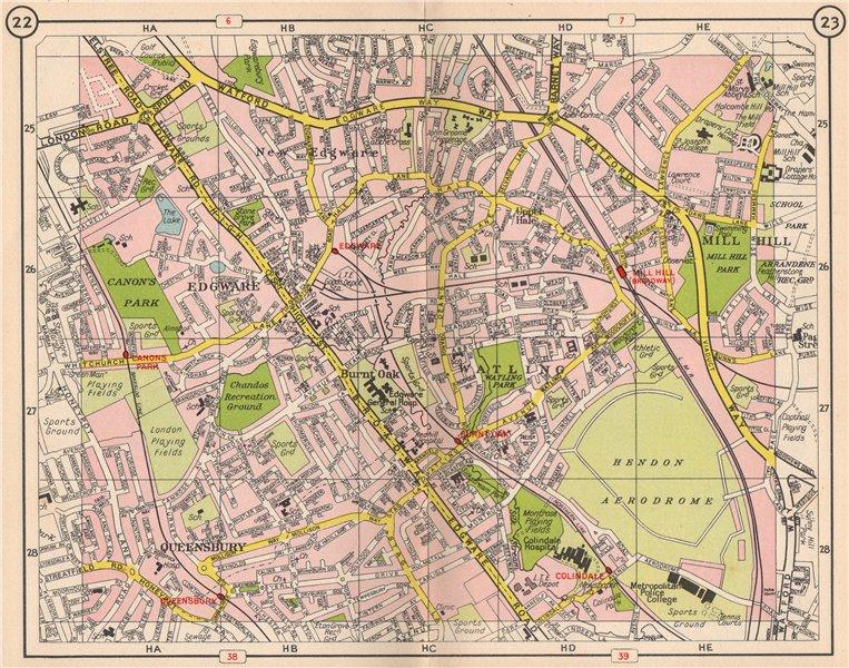 Associate Product NW LONDON. Edgware Mill Hill Watling Burnt Oak Queensbury Colindale 1953 map