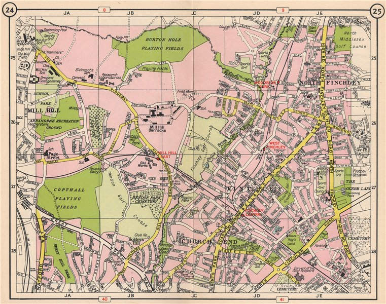 Associate Product N LONDON. Church End Finchley Holder's Hill Mill Hill North Finchley 1953 map