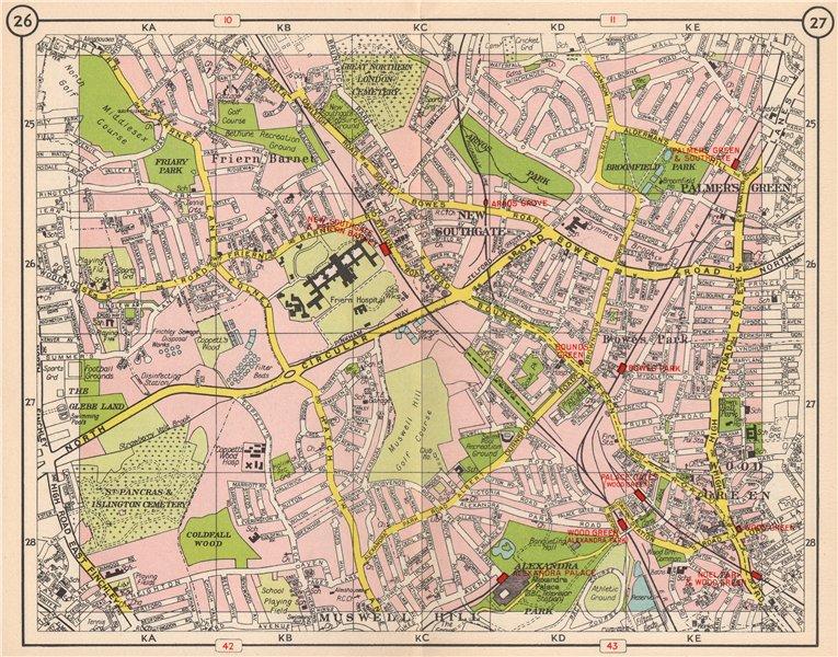 Associate Product N LONDON. Southgate Friern Barnet Palmer's Green Bowes Park Wood Green 1953 map