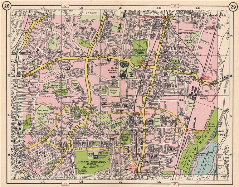 N LONDON. Noel Park Bowes Tottenham Edmonton Wood/Palmer's Green 1953 old map