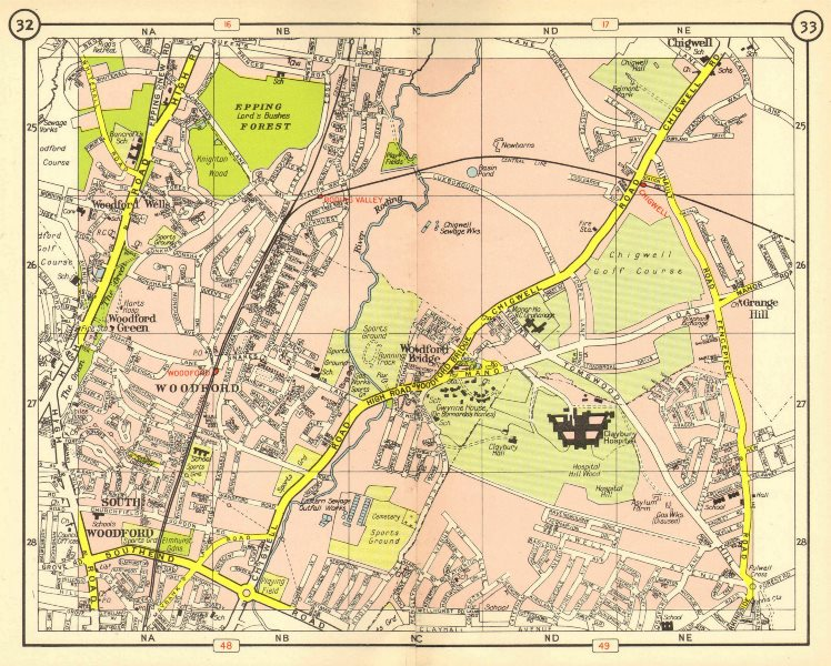 Associate Product NE LONDON. South Woodford Green Chigwell Grange Hill Roding Valley 1953 map