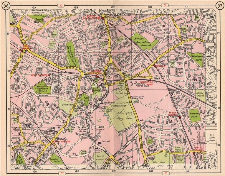 Associate Product NW LONDON. North/South Harrow Wealdstone Kenton Roxeth Northwick Park 1953 map