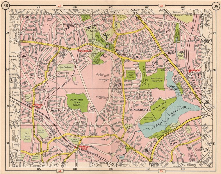 Associate Product NW LONDON. Kingsbury Green Wembey Park The Hyde Hendon Preston Road 1953 map