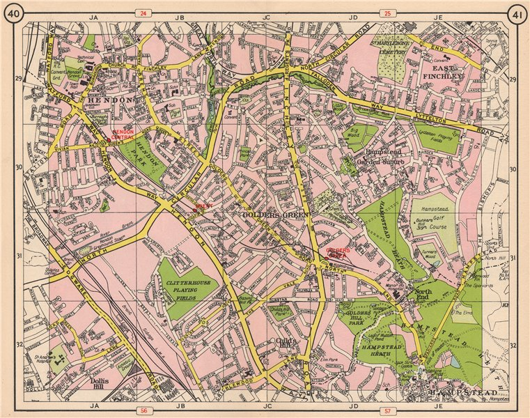 Associate Product NW LONDON. Hendon East Finchley Golder's Green Child's Hill North End 1953 map