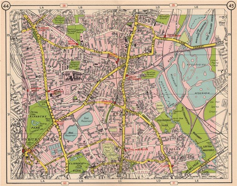 Associate Product N LONDON Finsbury Park Bruce Grove Stamford Hill Finsbury Park Clapton 1953 map