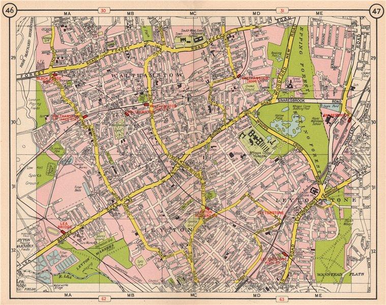 Associate Product NE LONDON. Walthamstow Leytonstone Leyton Lea Bridge Snaresbrook 1953 old map