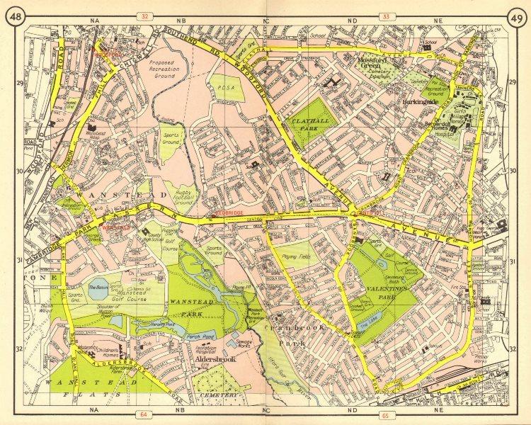 Associate Product NE LONDON Wanstead Mossford Green Cranbrook Park Barkingside Woodford 1953 map