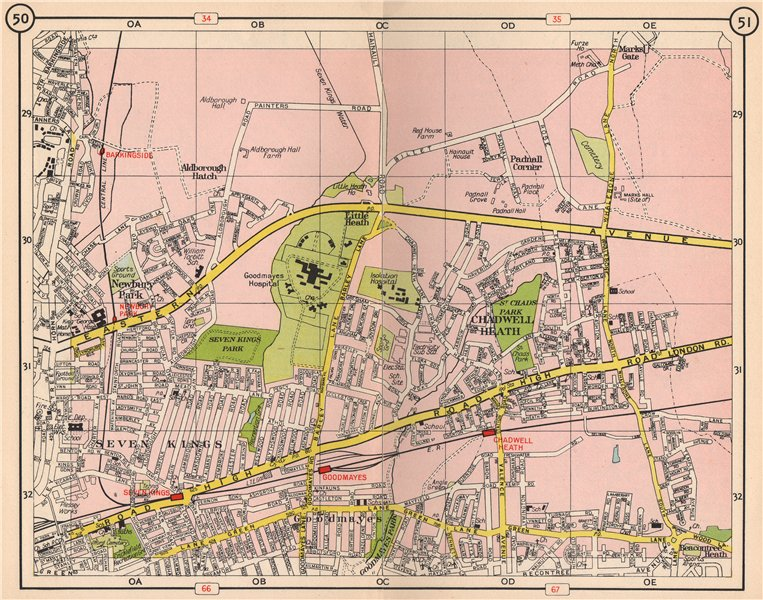 Associate Product NE LONDON. Chadwell Heath Goodmayes Seven Kings Barkingside Newbury Pk 1953 map