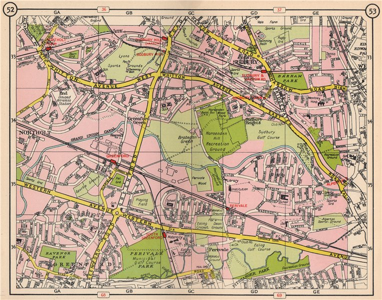 Associate Product NW LONDON. Northolt Perivale Greenford Sudbury Heights Wood End 1953 old map