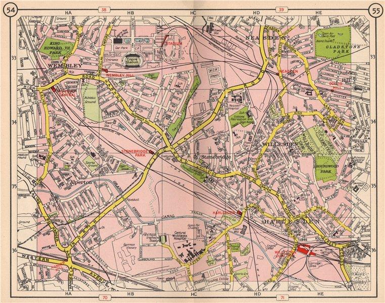 Associate Product NW LONDON. Wembley Alperton Harlesden Willesden Neasden Dudden Hill 1953 map