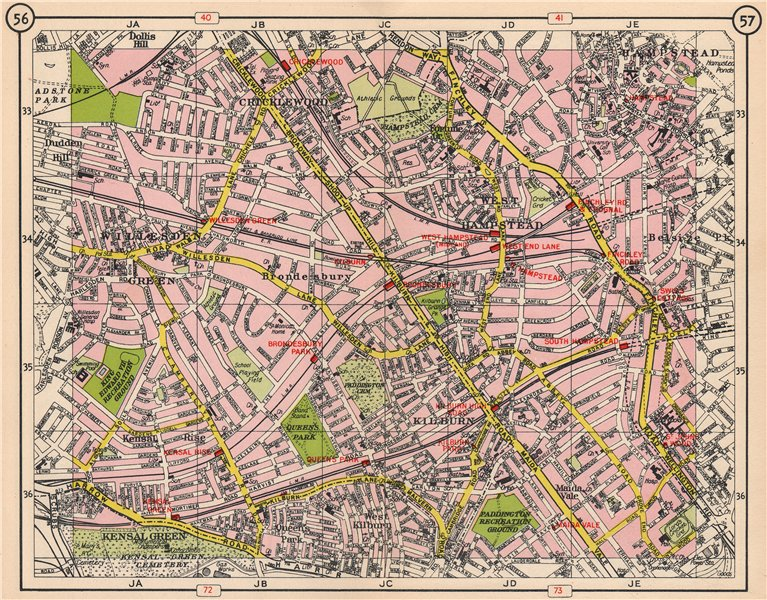 Associate Product NW LONDON. Cricklewood West Hampstead Brondesbury Kensal Rise Kilburn 1953 map