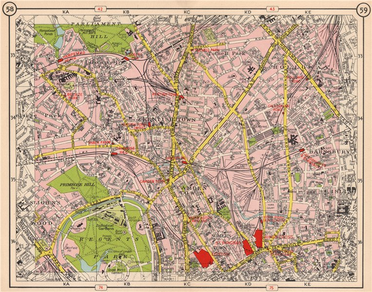 Associate Product N LONDON. Kentish Town Holloway Barnsbury Camden Town St John's Wood 1953 map