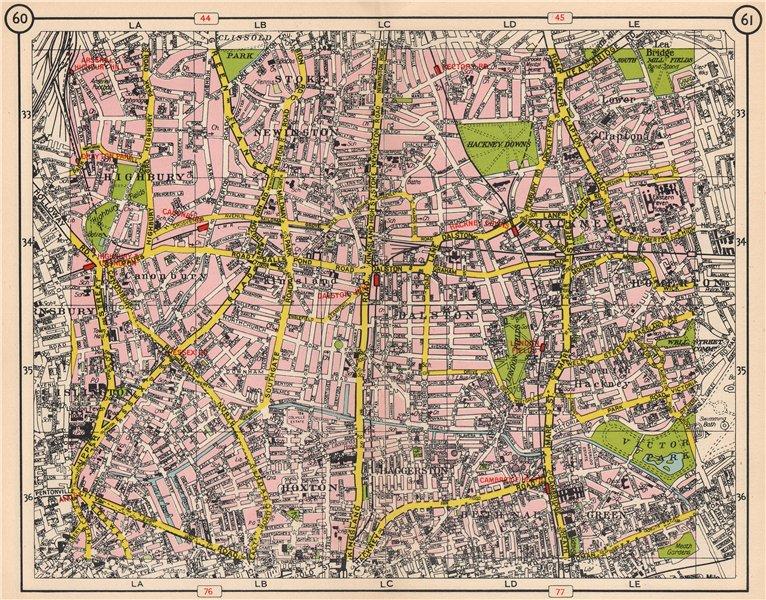 Associate Product N LONDON. Hoxton Islington Stoke Newington Hackney Clapton Highbury 1953 map
