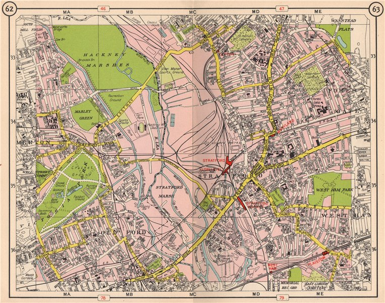 Associate Product E LONDON. Old Ford Bow West Ham Forest Gate Hackney Leyton Stratford 1953 map