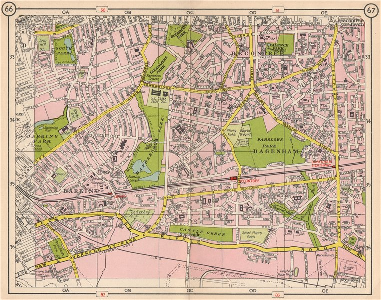 Associate Product E LONDON. Becontree Dagenham Barking Rippleside Upney Goodmayes Park 1953 map