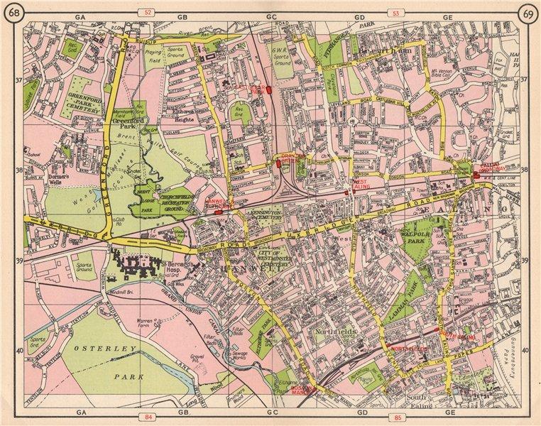 Associate Product W LONDON. Brentham Greenford Park Ealing Northfields Hanwell Elthorne 1953 map
