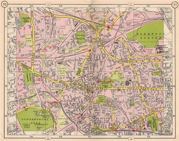 W LONDON. Acton Gunnersbury Park Royal Ealing Common Turnham Green 1953 map