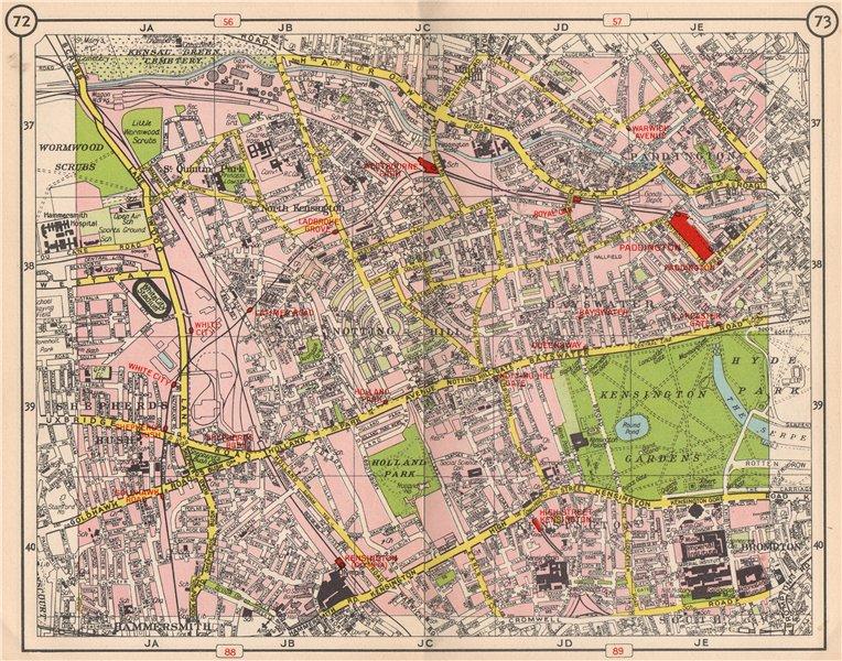 Associate Product W LONDON. Notting Hill Paddington Bayswater Shepherd's Bush Kensington 1953 map