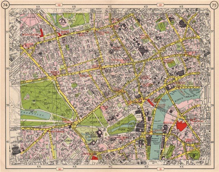 Associate Product LONDON WEST END Mayfair West End Soho Bloomsbury Belgravia Westminster 1953 map