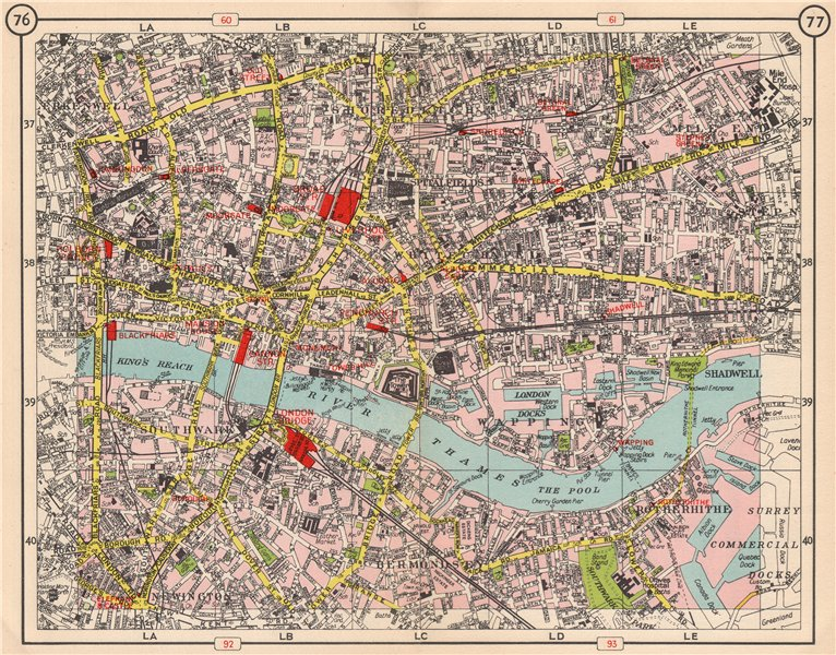 London City Centre Map.Details About London City East End Southwark Shoreditch Whitechapel Bermondsey 1953 Old Map