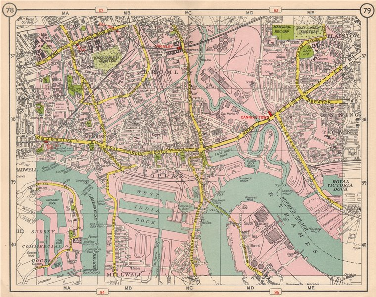 Associate Product E LONDON. Bromley Mile End Limehouse Canning Town Millwall Poplar 1953 old map
