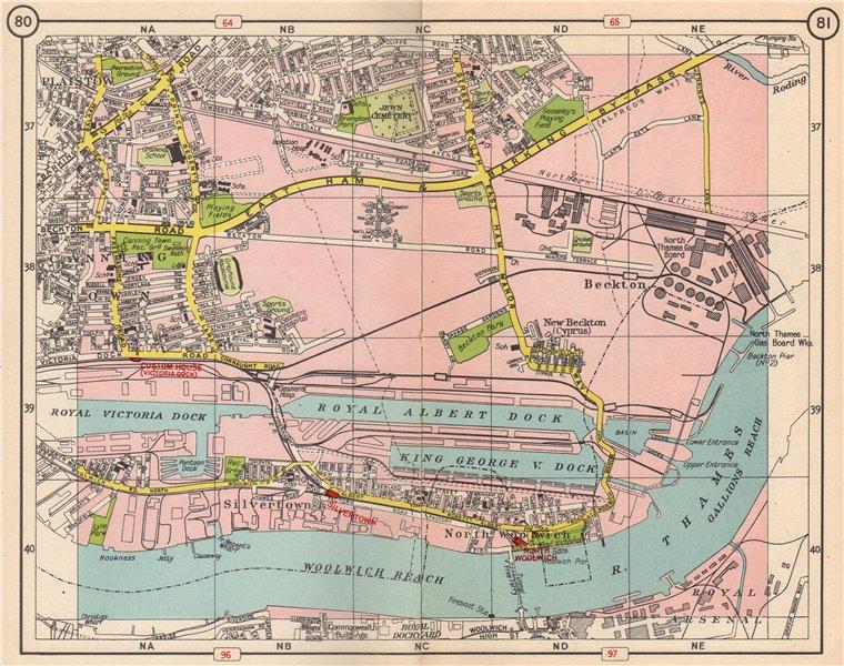 Associate Product E LONDON Beckton Plaistow Silvertown Woolwich Canning Town Royal Docks 1953 map