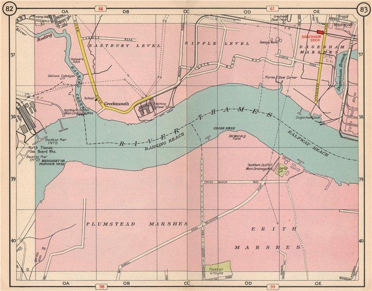 Associate Product E LONDON. Creekmouth Plumstead/Dagenham/Erith Marshes Dagenham Dock 1953 map