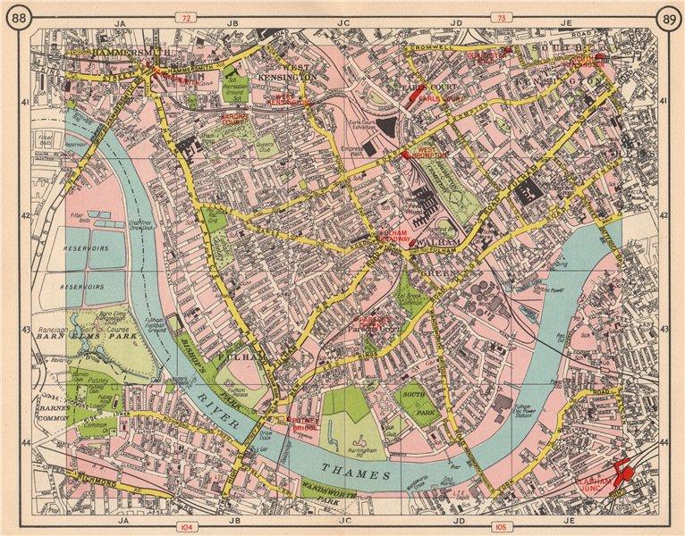 Associate Product SW LONDON Fulham Walham Green Hammersmith South Kensington Earls Court 1953 map