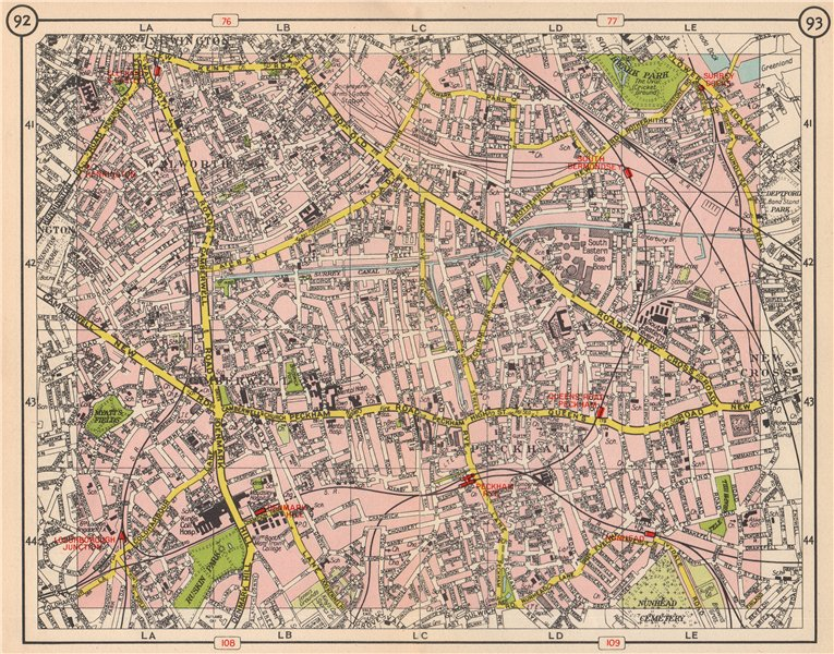 Associate Product S LONDON. Walworth Camberwell Peckham Walworth Bermondsey Denmark Hill 1953 map