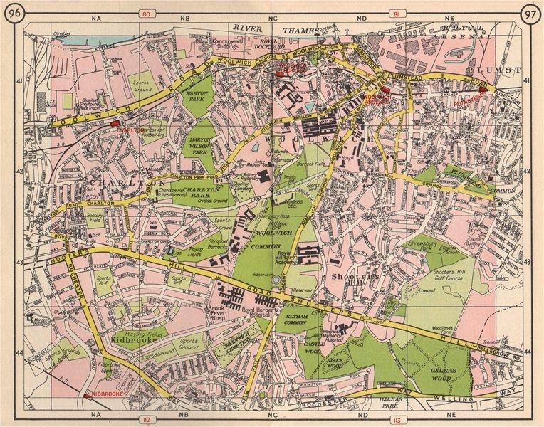 Associate Product SE LONDON Charlton Woolwich Plumstead Charlton Shooters Hill Kidbrooke 1953 map
