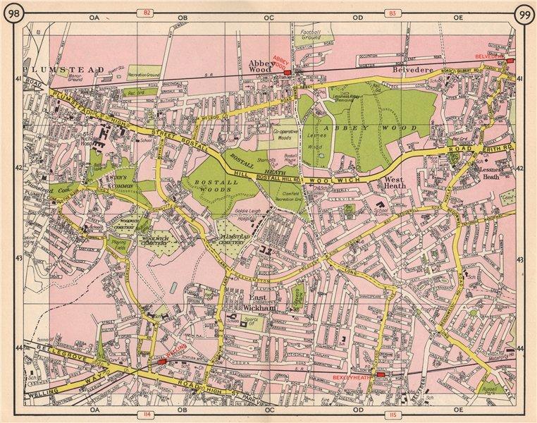 Associate Product SE LONDON. Plumstead Abbey Wood Belvedere East Wickham Welling 1953 old map