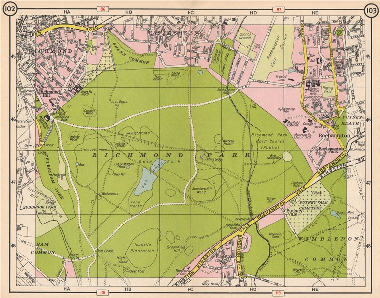 RICHMOND PARK. East Sheen Roehampton Kingston Vale Wimbledon Common 1953 map