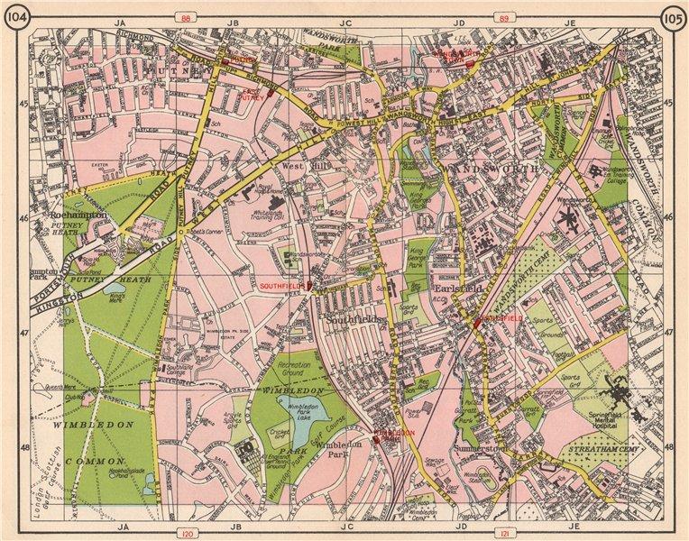 Associate Product SW LONDON. Wandsworth Putney Wandsworth West Hill Earlsfield Wimbledon 1953 map