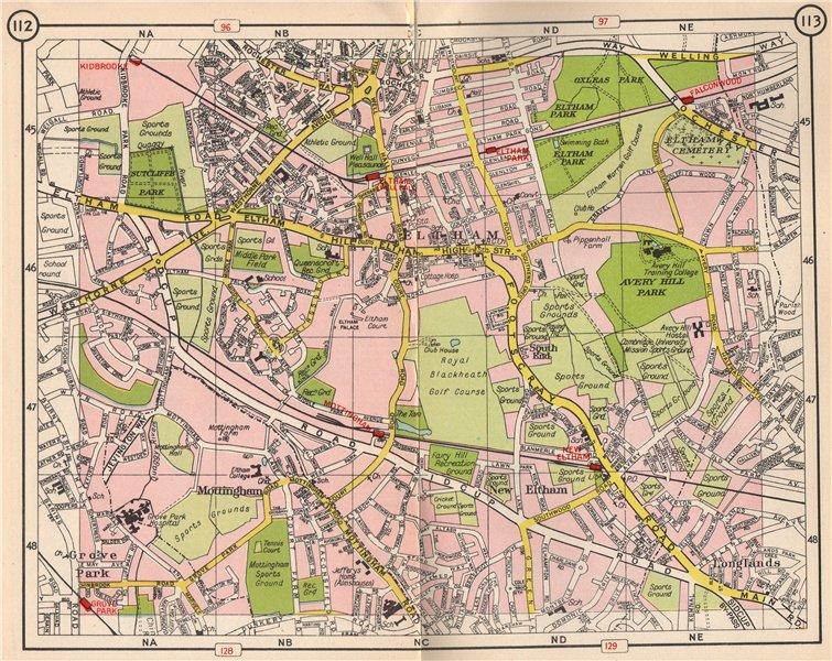 Associate Product SE LONDON. Mottingham Eltham Grove Park Longlands New Eltham 1953 old map