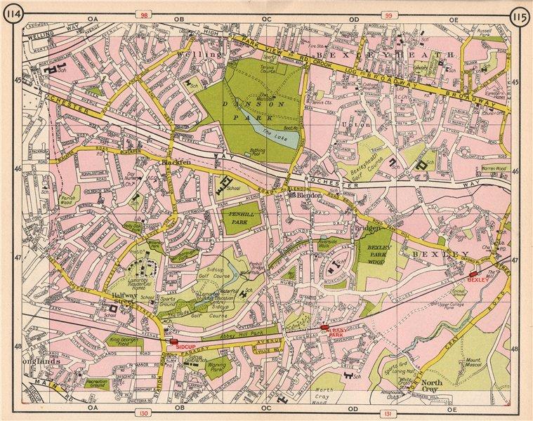 Associate Product SE LONDON. Blackfen Bexleyheath Blendon Albany Park Bexley North Cray 1953 map