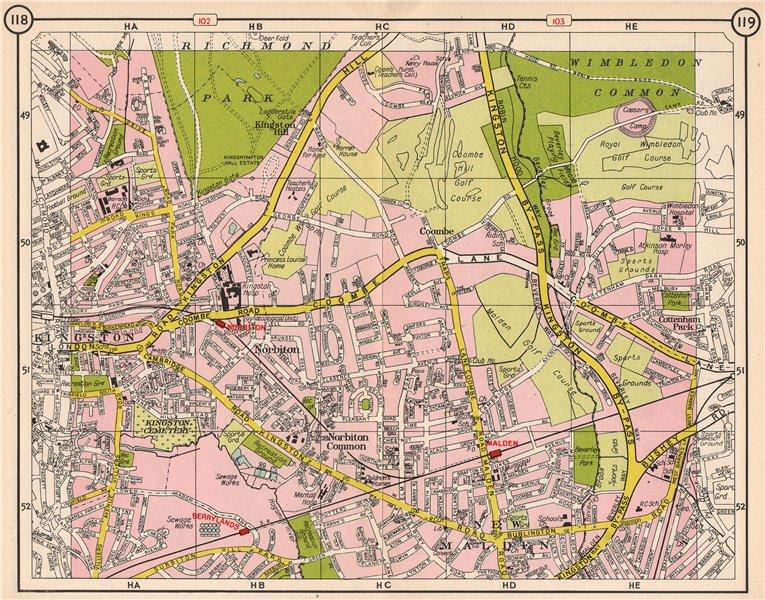 Associate Product SW LONDON. Kingston Coombe Norbiton New Malden Berrylands Wimbledon 1953 map