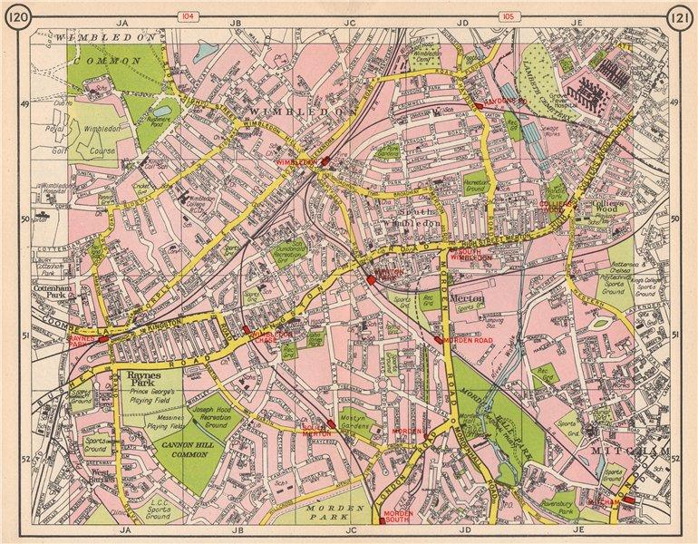 Associate Product SW LONDON. Wimbledon Collier's Wood Merton Morden Raynes Park Mitcham 1953 map